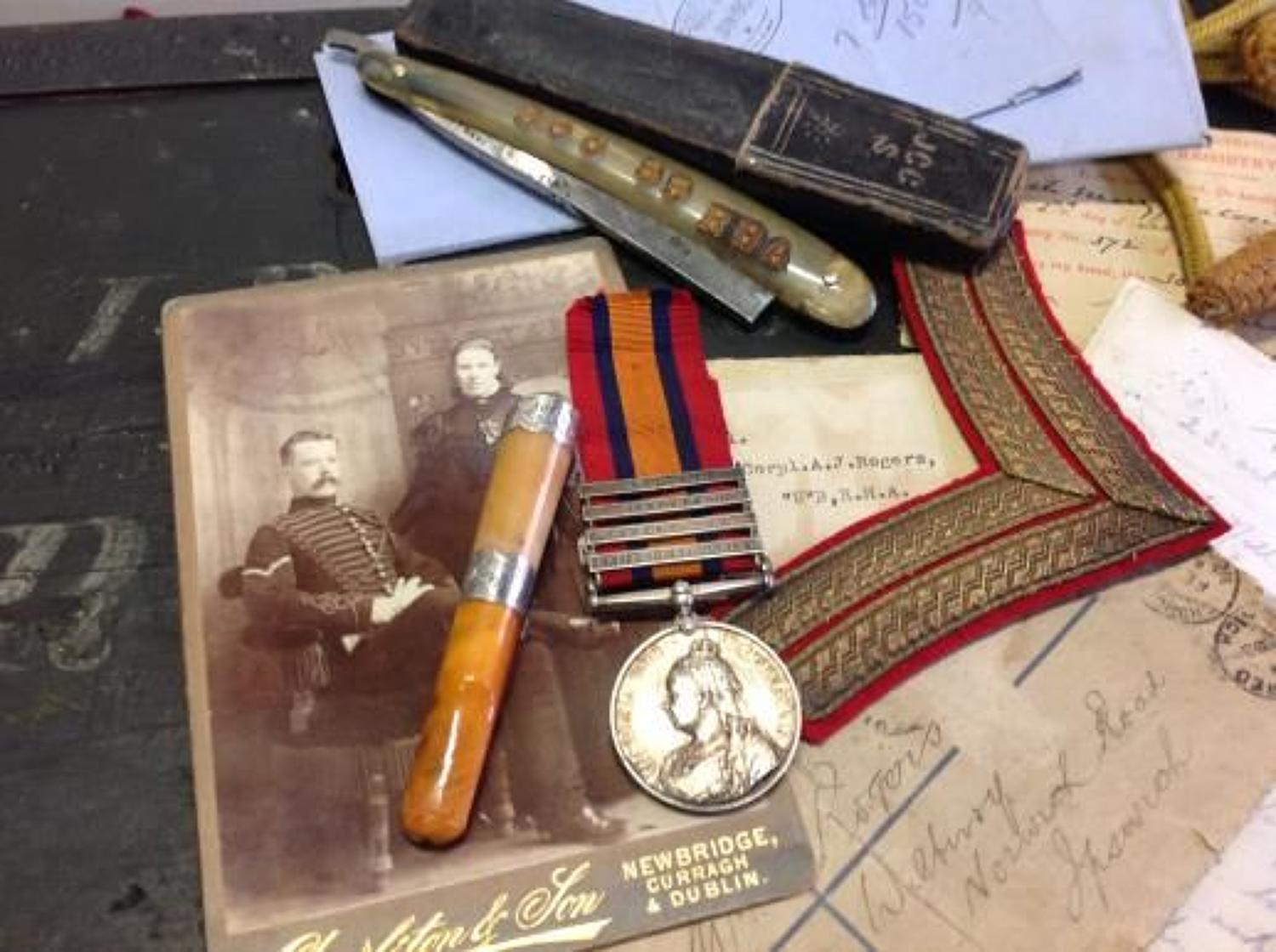Boer War Archive, Medals, Insignia, Paperwork, Personal Items, Letters Maps, Photographs Certificates Named Trunk  Etc.