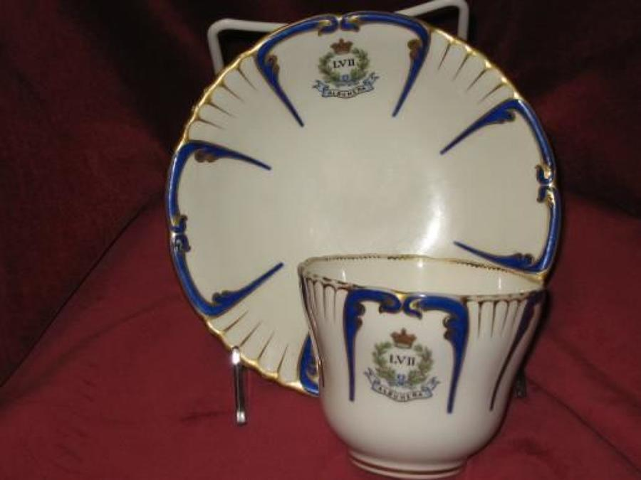 57th of Foot Marked, Middlesex Regiment Mess China Cup & Saucer.
