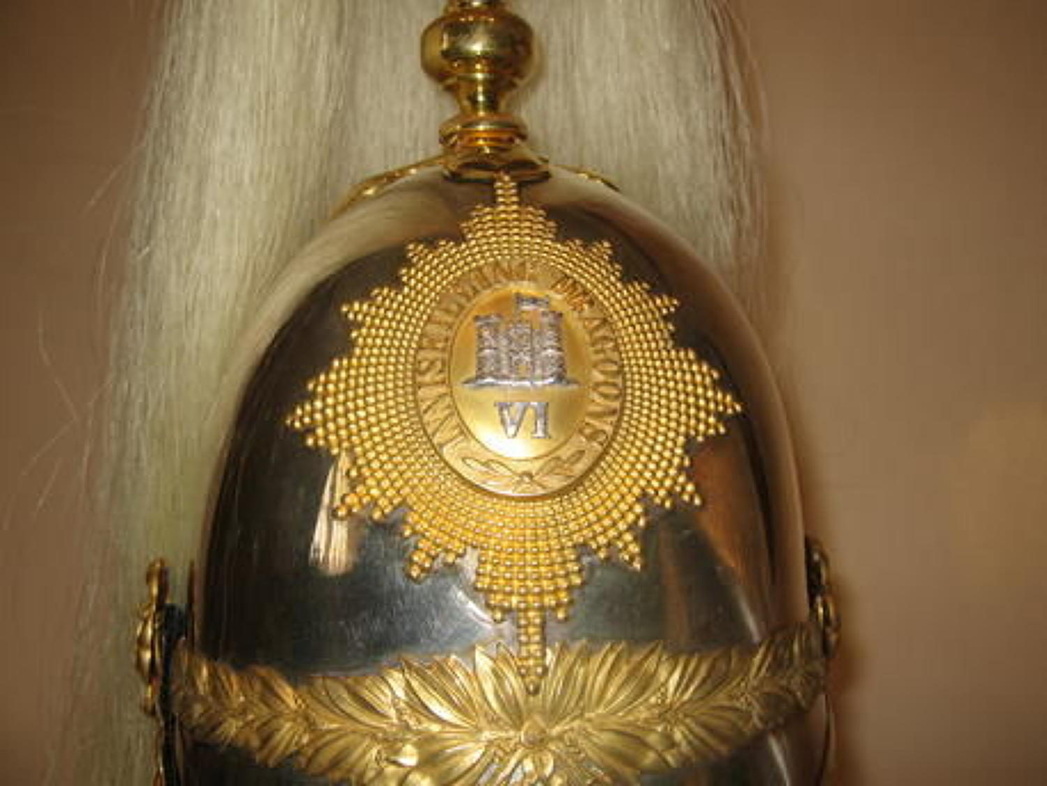 6th Inniskilling Dragoon Guards Officer's post 1871 Helmet.