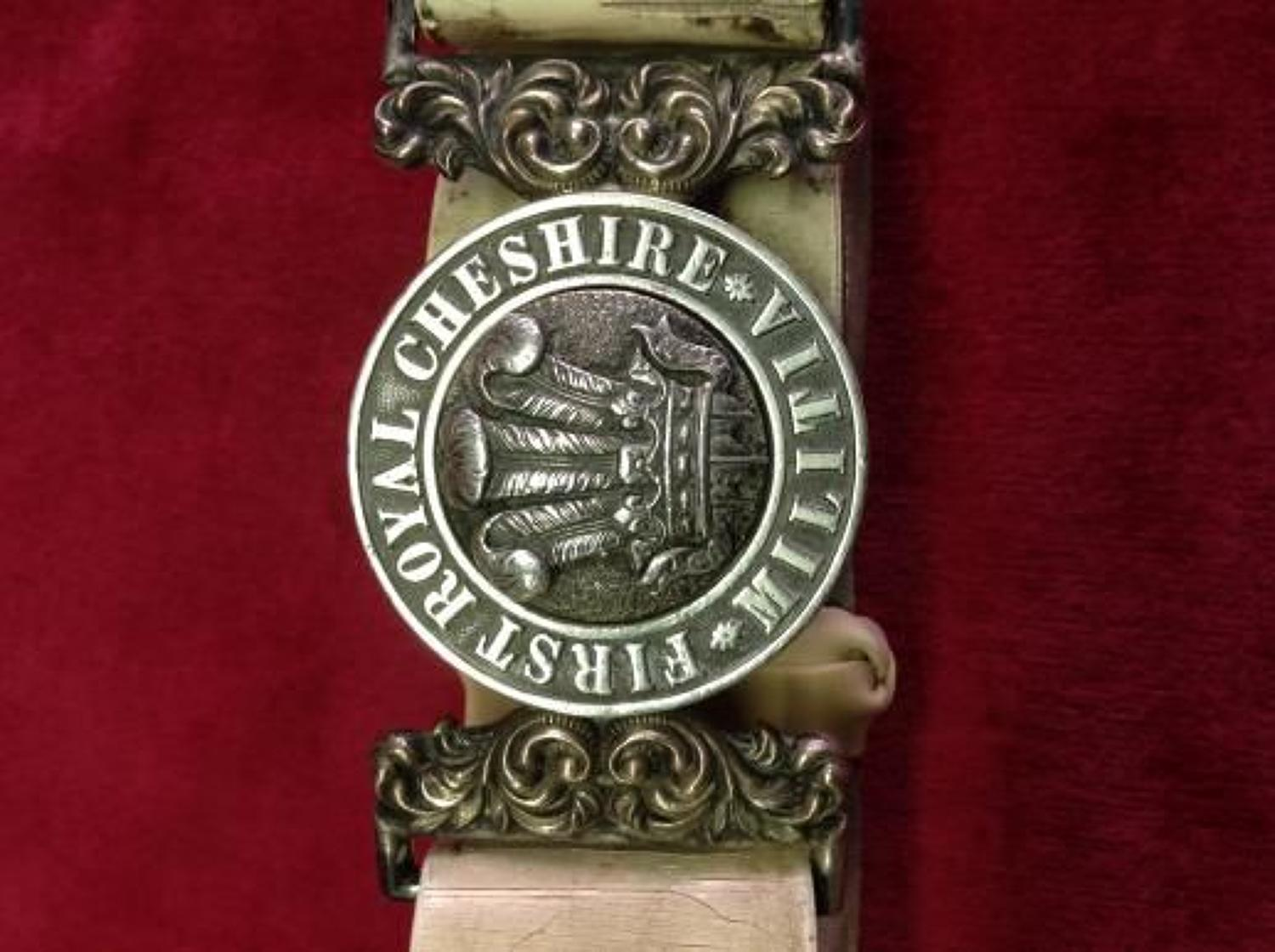First Royal Cheshire Militia Officers Waist belt and Waist Belt Clasp