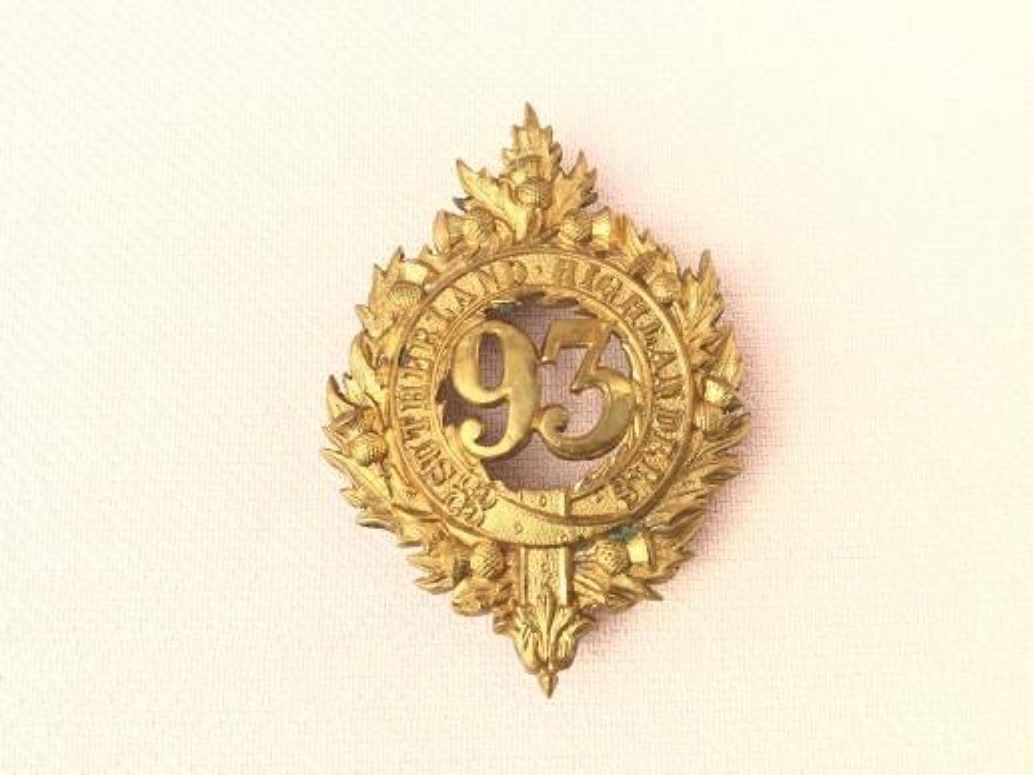 93rd Regiment of Foot (Sutherland Highlanders) Glengarry Badge.