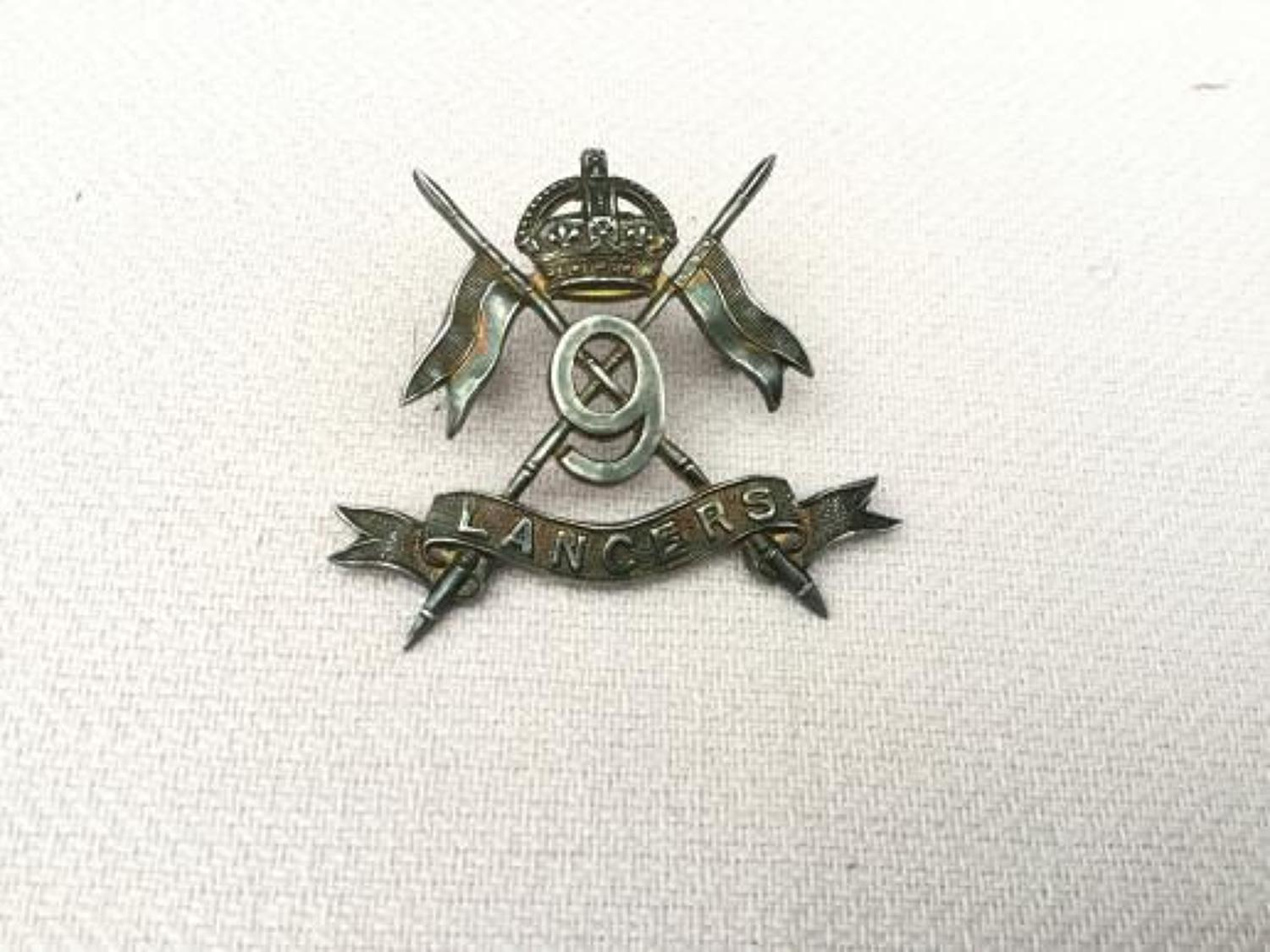 9th Lancers Officers Silver Hallmarked Cap Insignia.
