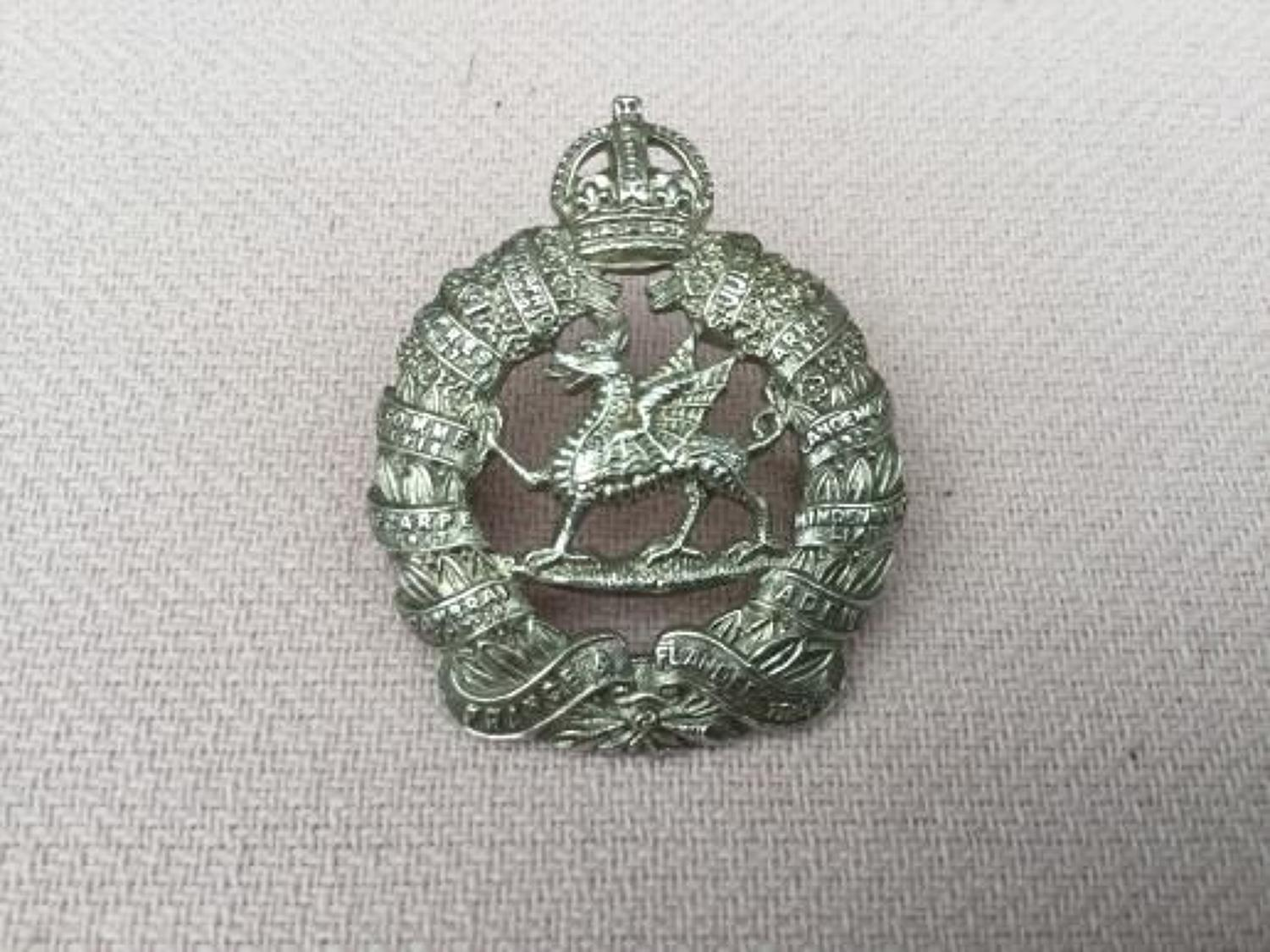WW2 Monmouthshire Regiment Officers Hallmarked Cap Insignia.