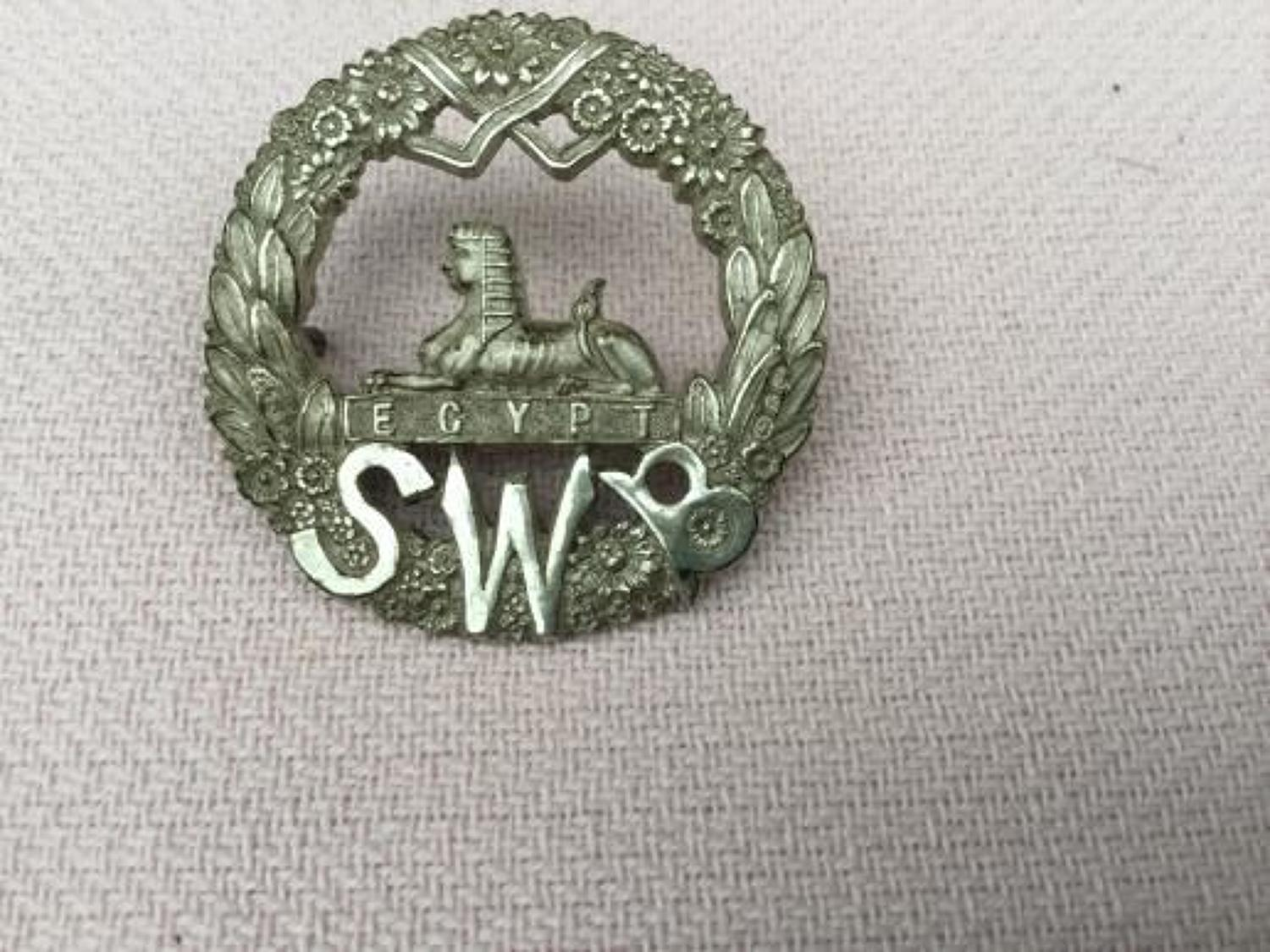 South Wales Borderers Hallmarked Officers Cap Insignia.
