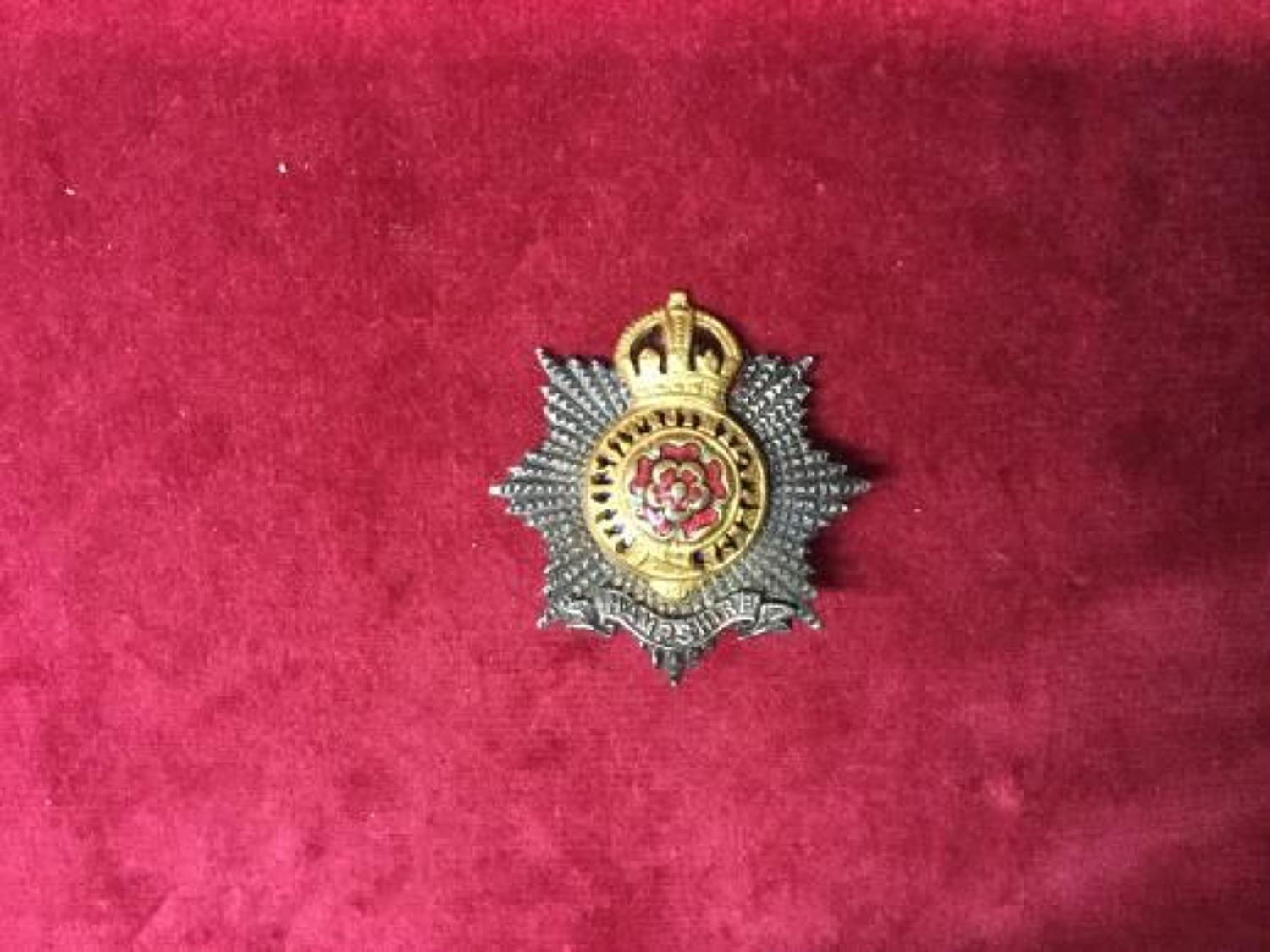 The Hampshire Regiment Officers Cap Insignia