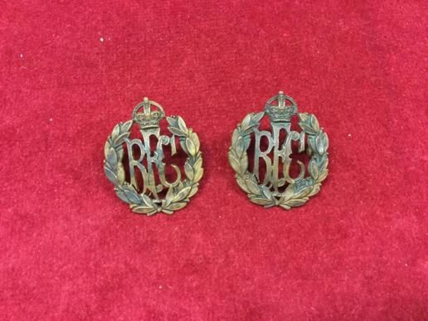 Royal Flying Corps Officers bronzed Collar Badges