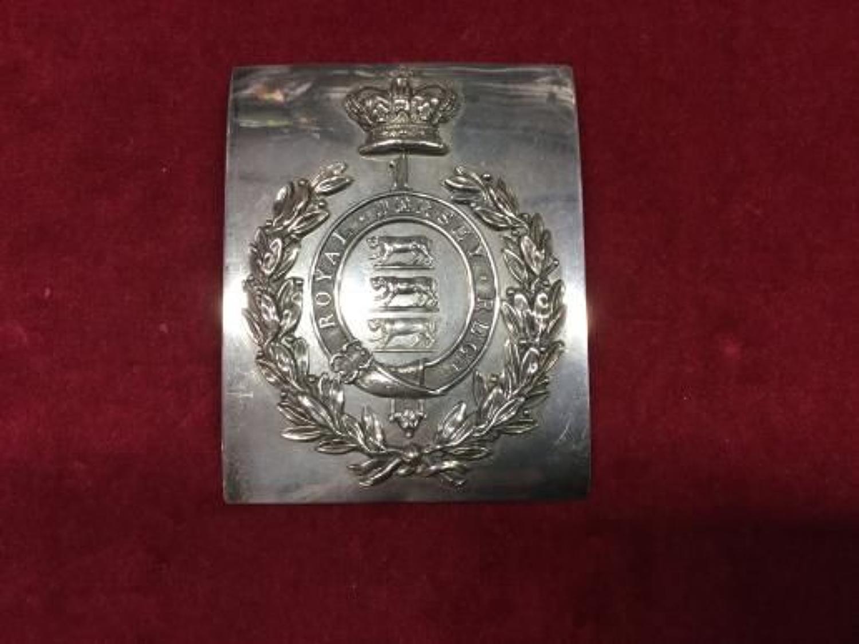 1st Royal Jersey Militia Regiment Hallmarked Silver Shoulder Belt Plate