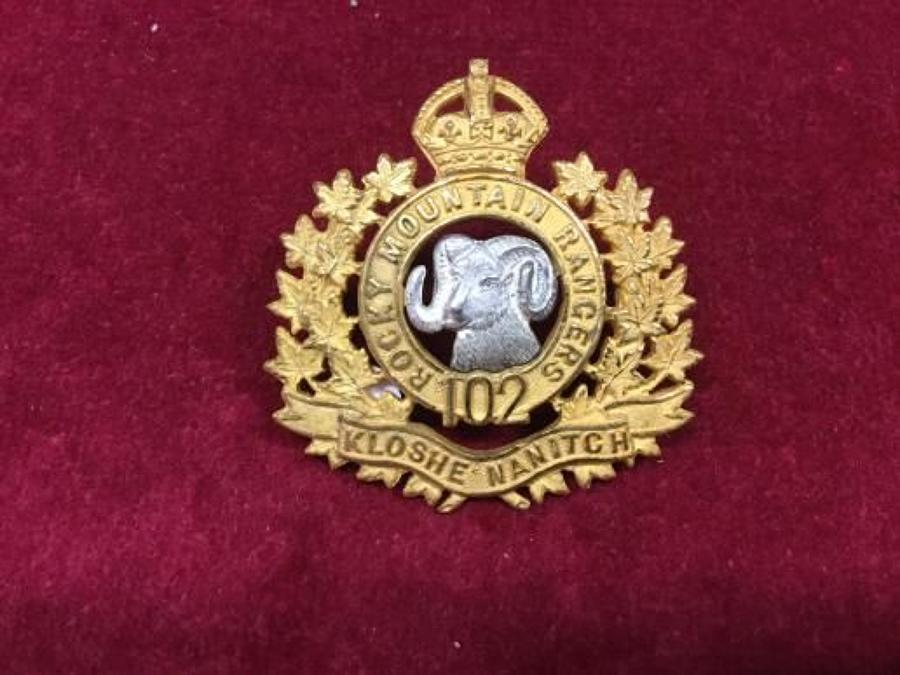 102nd Rocky Mountain Rangers Officers Forage Cap Badge