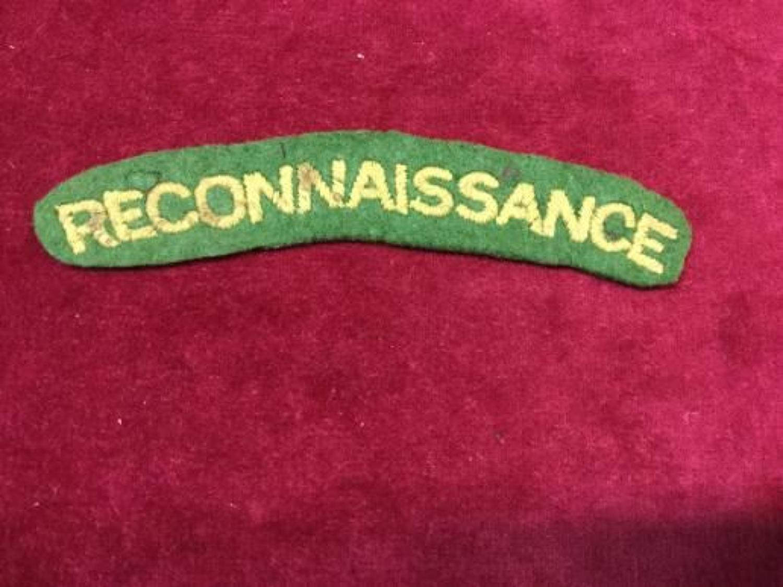 Reconnaissance Corps WW2 Shoulder Title
