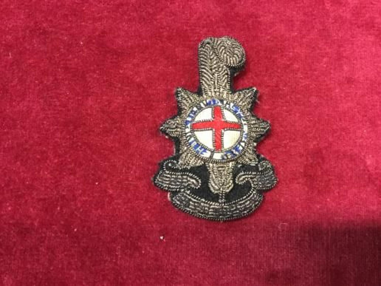 The Royal Sussex  Regiment Officers Bullion Forage Cap Badge