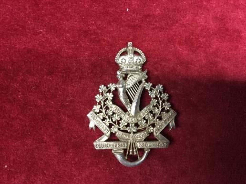8th (Irish) Bn Kings Regiment Liverpool  Hallmarked Cap Insignia
