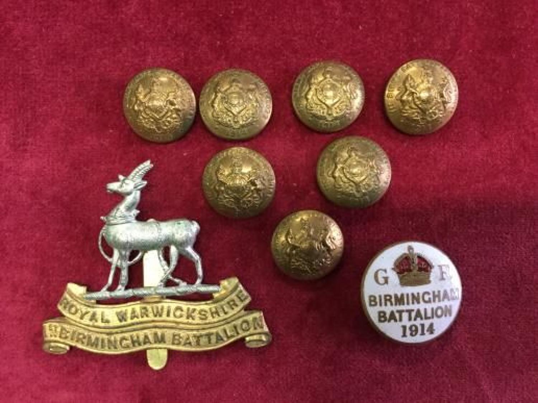 1st Birmingham Battalion (Pals) Warwickshire Regiment