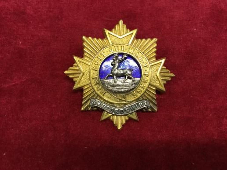 Bedfordshire Regiment Officers forage cap badge