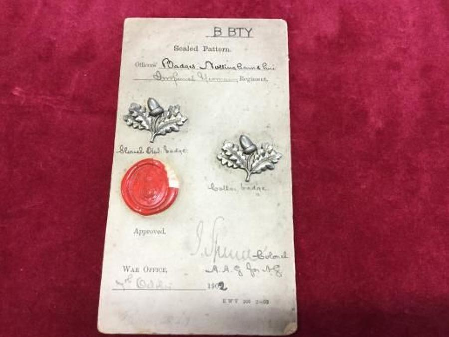 1902 Sealed Pattern Nottinghamshire Hussars Slouch Hat Badge and Colla