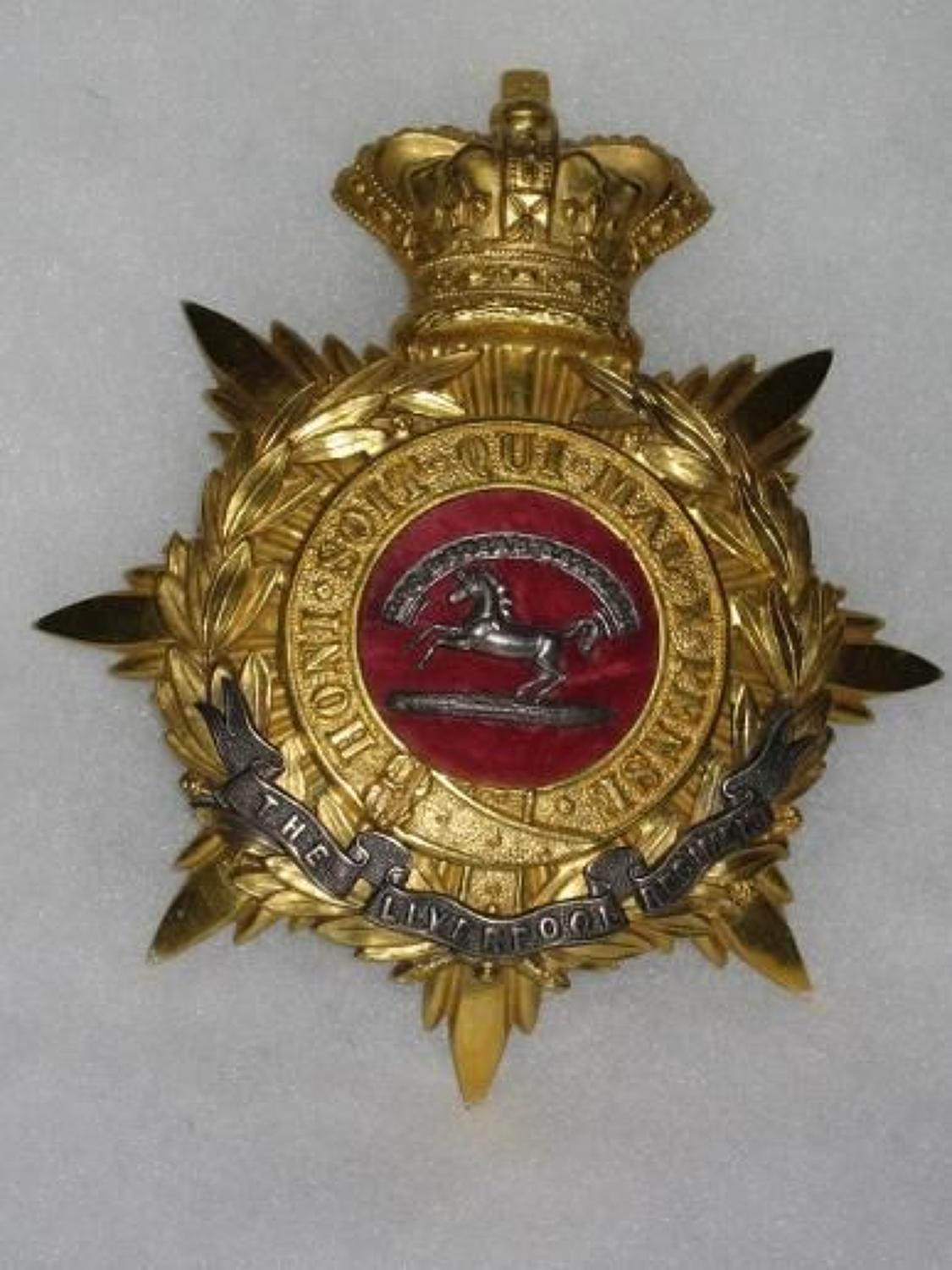 The (Kings) Liverpool Regiment 1881/1902 Officers Home Service Helmet Plate.