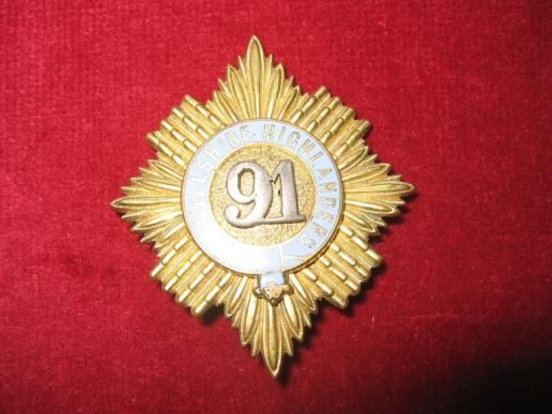 91st Argyllshire Highlanders, Officers, Enamel Glengary Insignia.