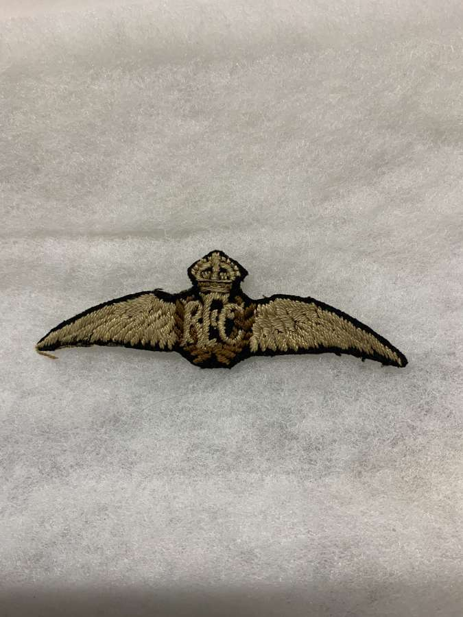 Royal Flying Corps Pilots Wing, With Original Label Attached