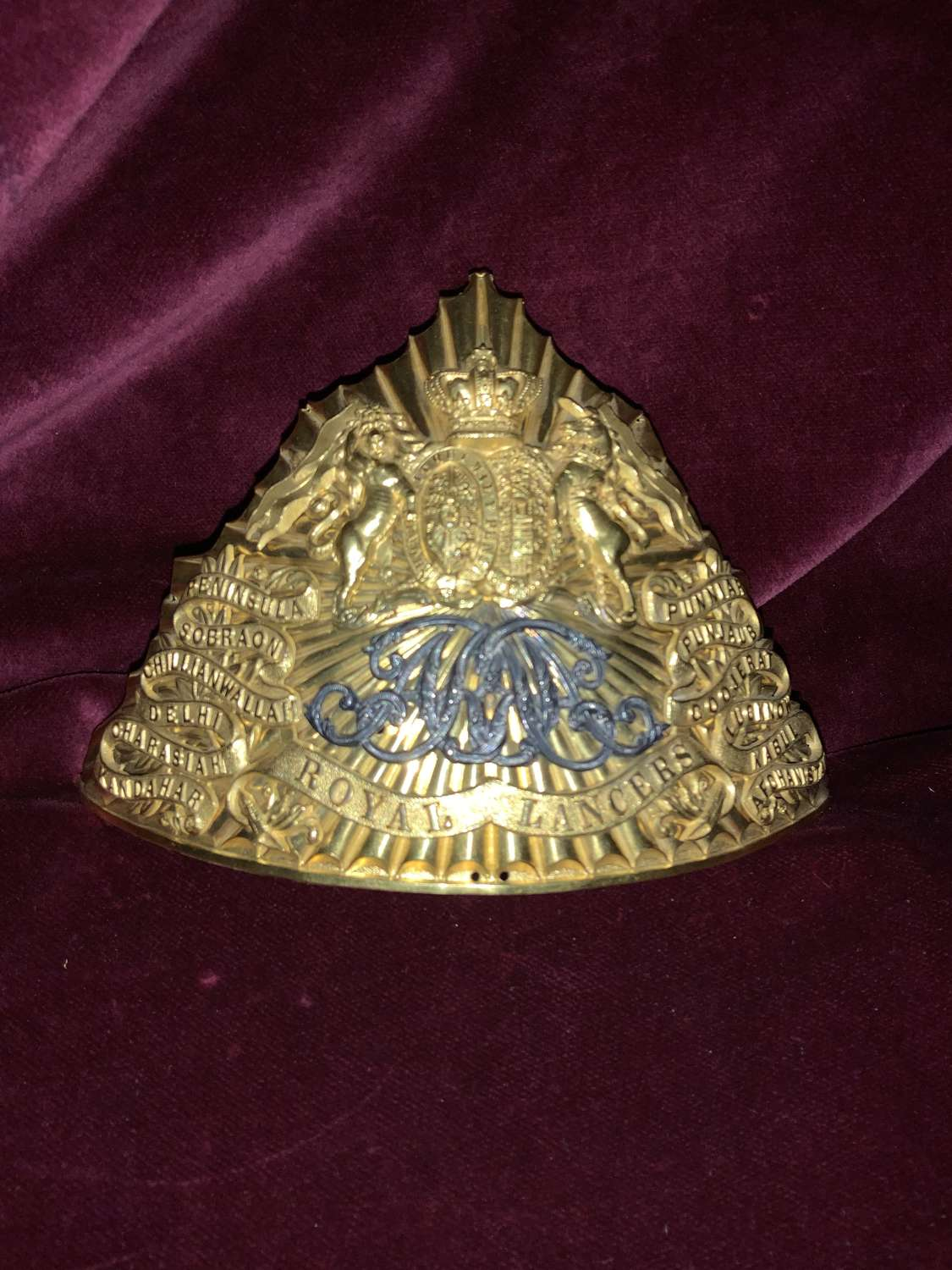 9th Royal Lancer's Officer's Lance Cap Plate.
