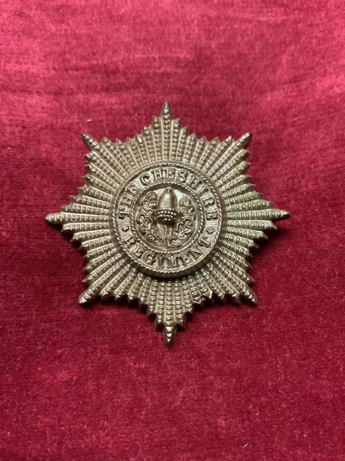 Cheshire Regiment Plastic Cap Badge Bronze.
