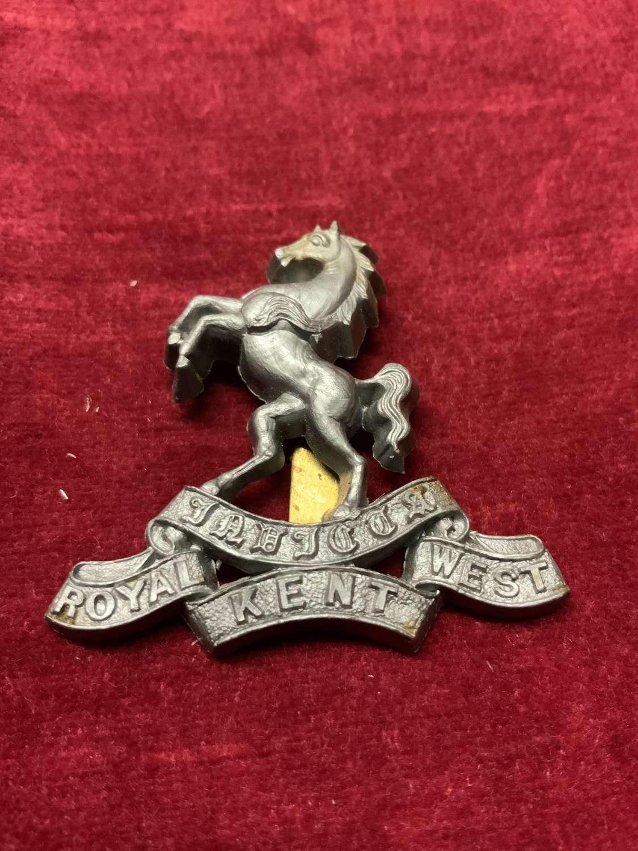 Royal West Kent Silver Coloured Plastic Cap Badge