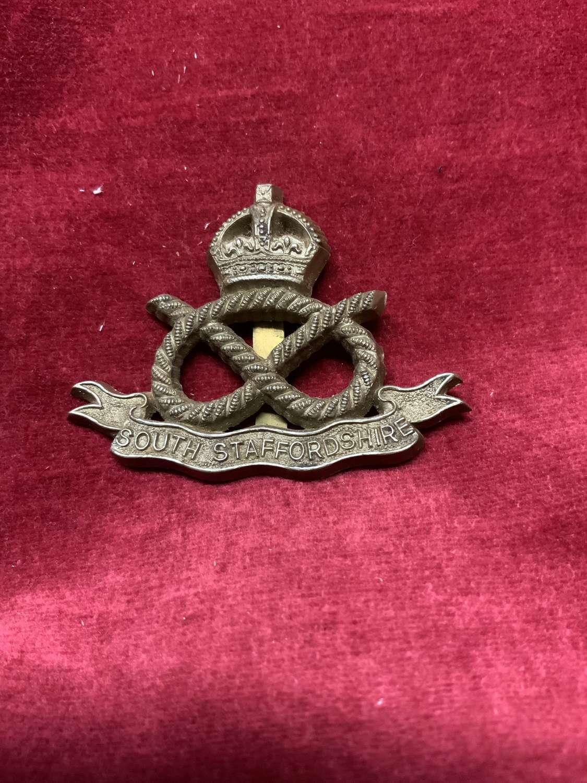 South Staffordshire Regiment Silver Coloured Cap Badge