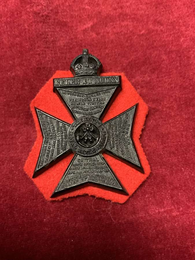 The Kings Royal Rifle Corps Black Plastic Red Cloth Backing