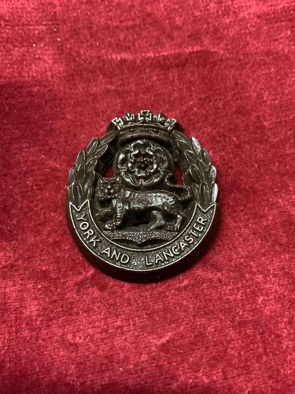York & Lancaster Regiment Brown Plastic Cap Badge.