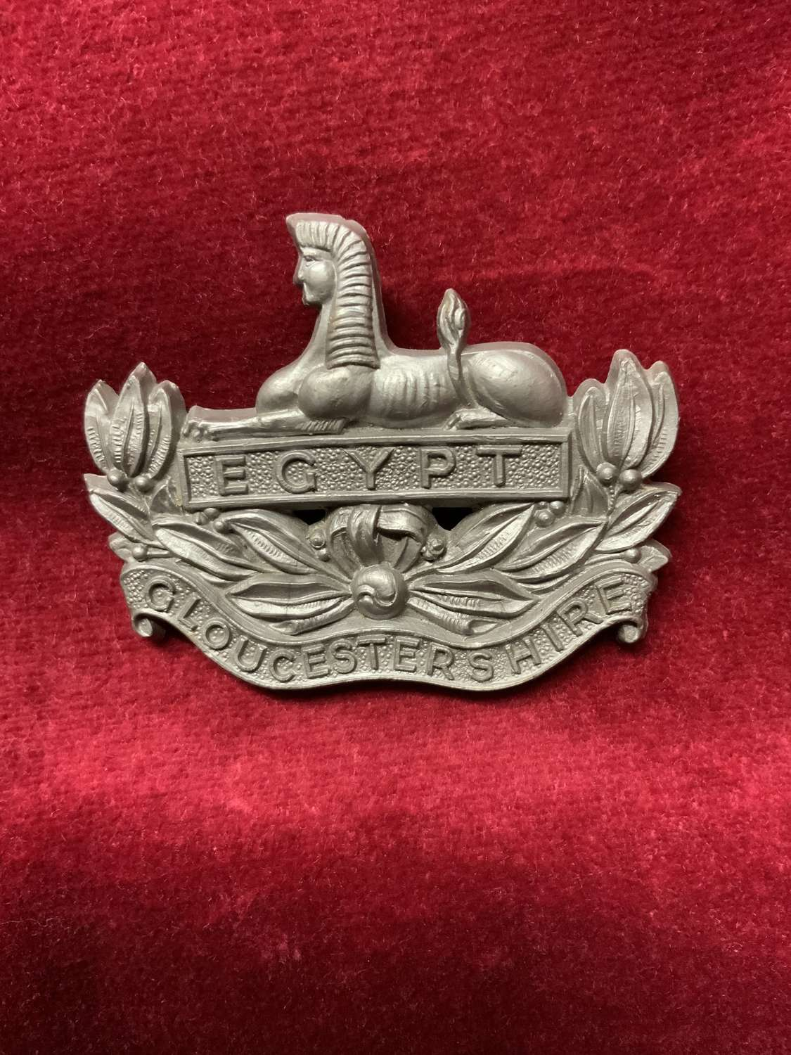 Gloucestershire Regiment Silver Coloured Plastic Cap Badge