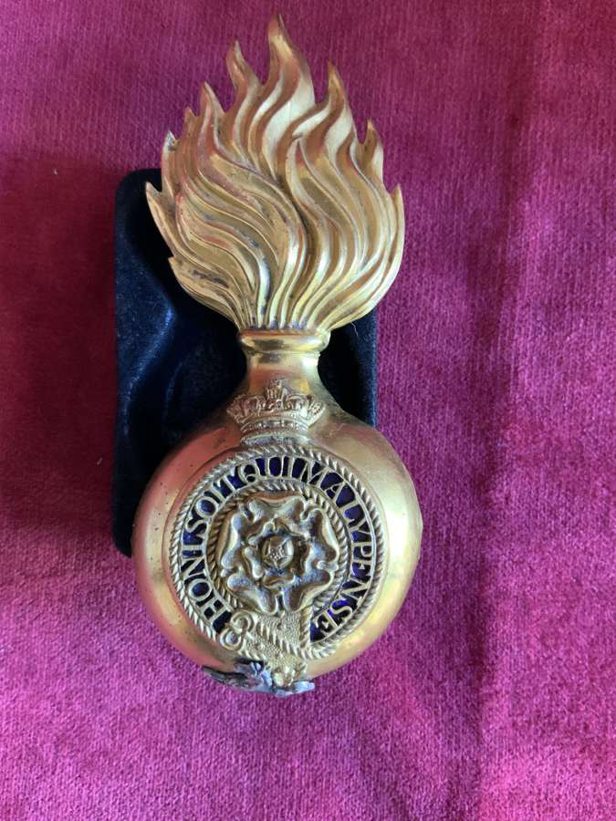 Royal Fusiliers Victorian Officers Fur Cap Grenade