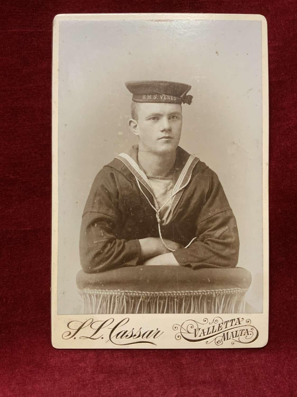 HMS Venus, Cabinet Card, Victorian Malta Studio