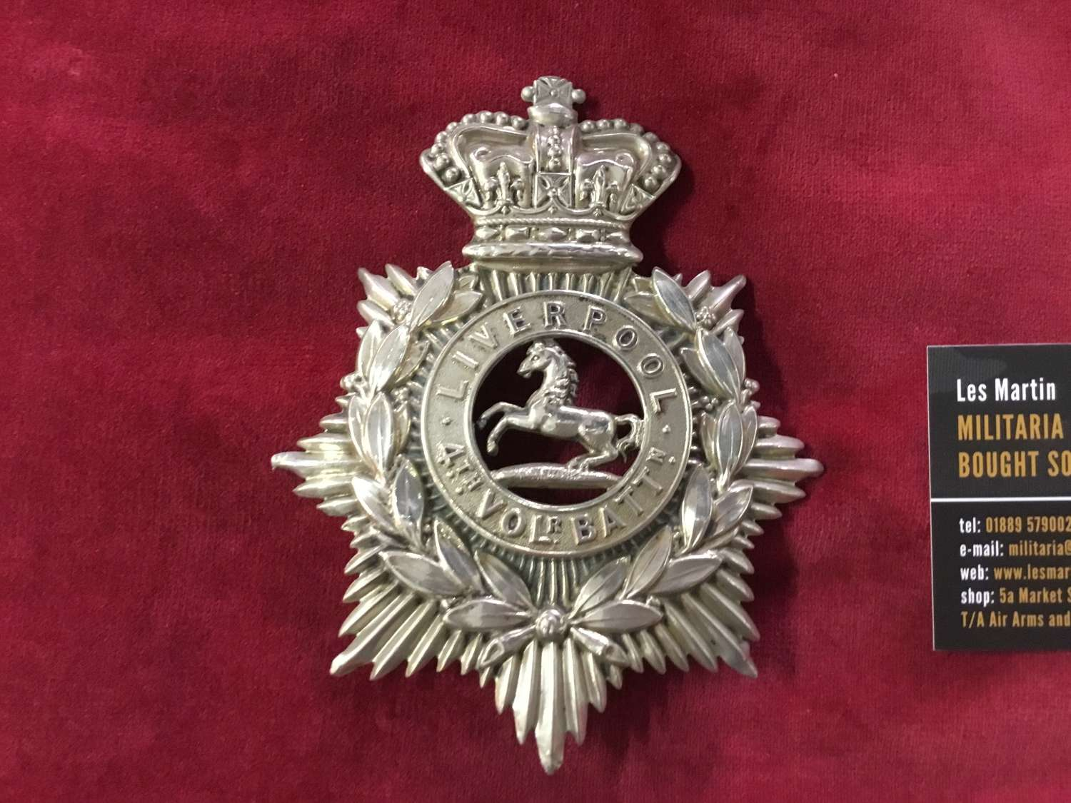 4th Volunteer Bn Kings Liverpool Regiment Home Service Helmet Plate