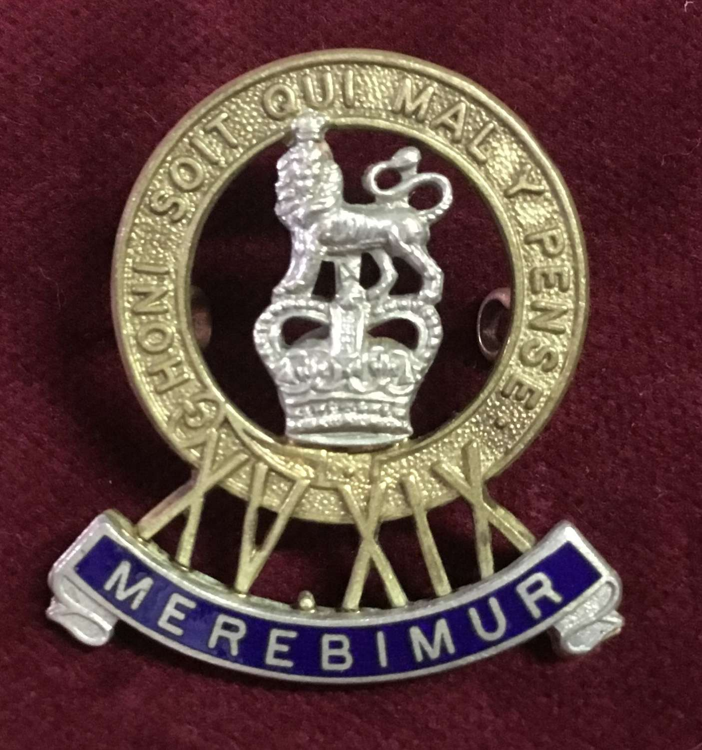 15th/19th Hussars Officers Cap Badge