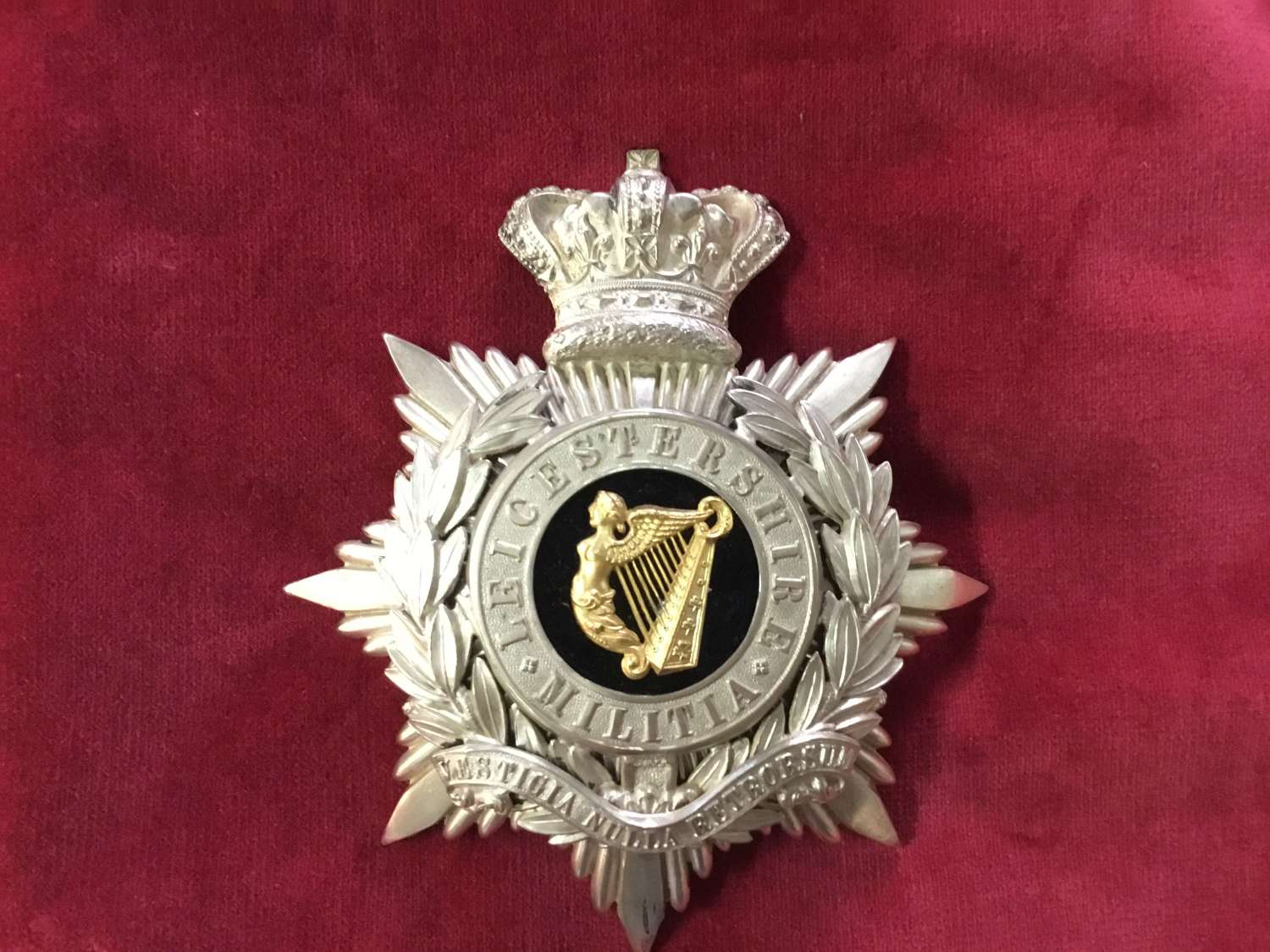 Leicestershire Militia Officers Home Service Helmet Plate