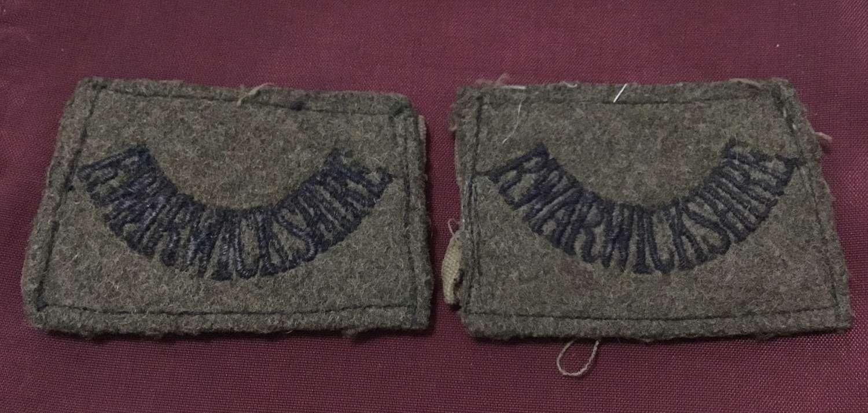 Royal Warwickshire Regt pair of Khaki Slip On Tiles