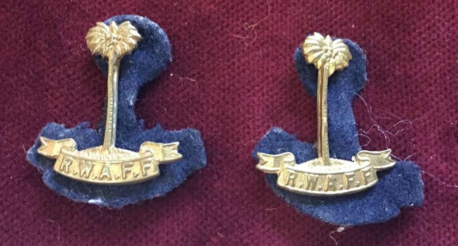 Royal West African Frontier Force Collar Badge Pair