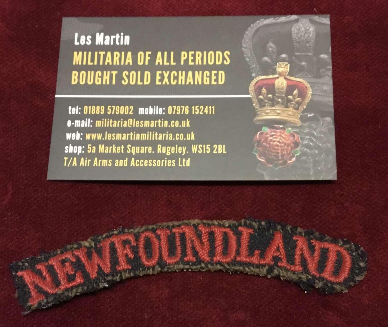 Interesting Newfoundland Embroidered Shoulder Title