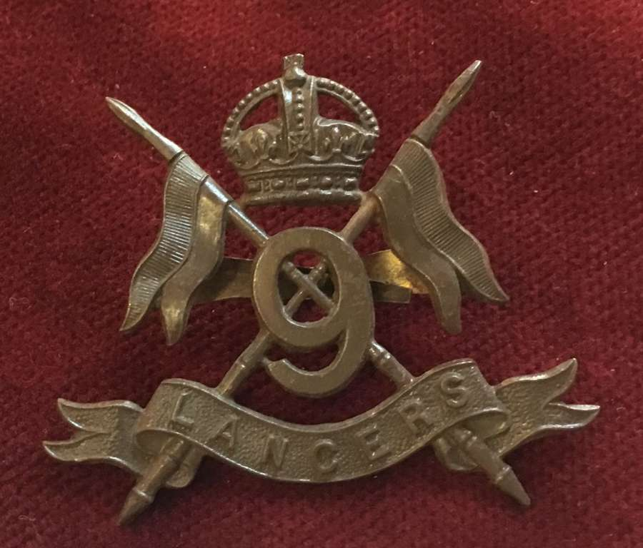 9th Lancers Officers Service Dress Cap Badge