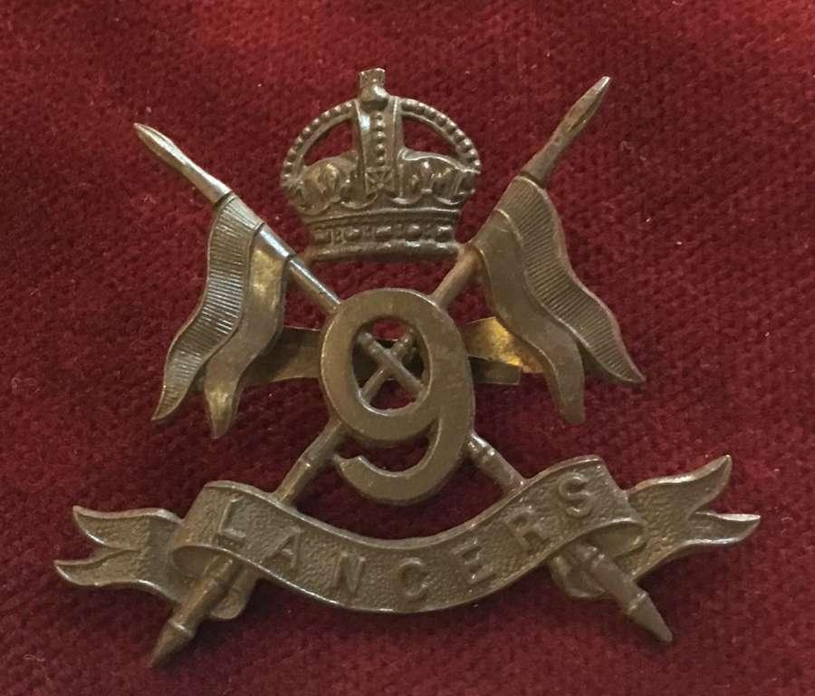 9th Lancers Officers Service Dress Cap Badge
