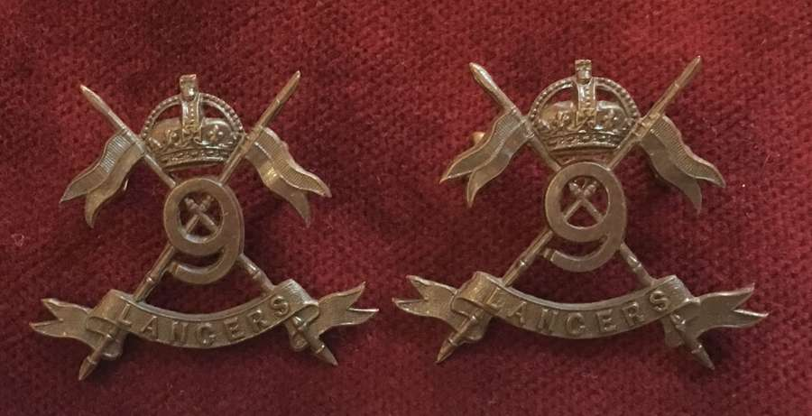 9th Lancers Officers Service Dress Collar Badges