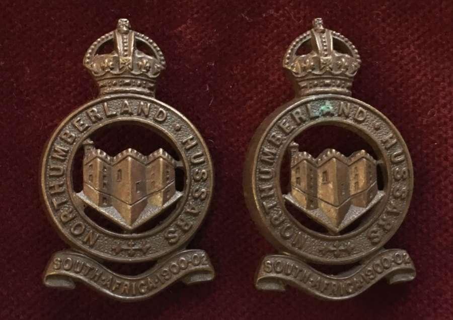 Northumberland Hussars OSD Caollar Badges Pair