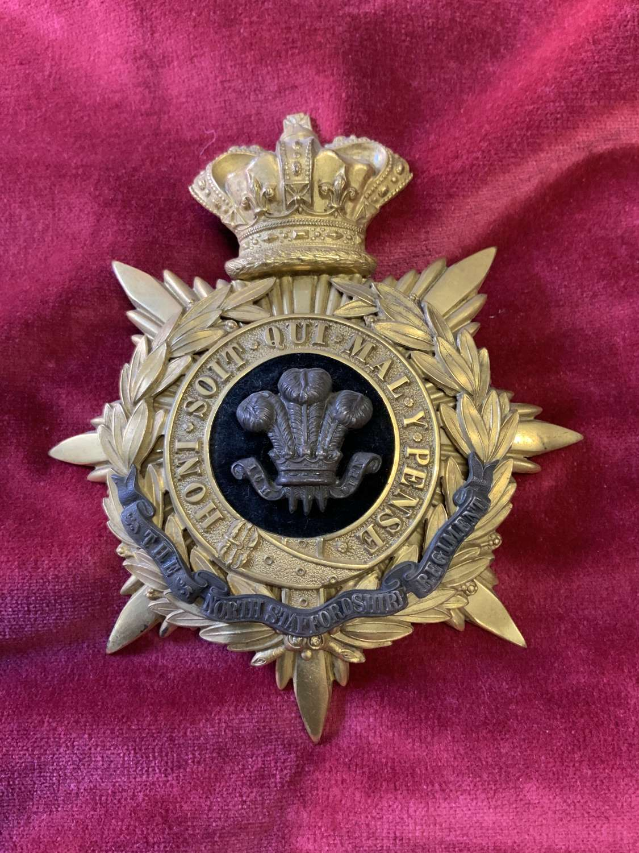 North Staffordshire Regiment Officers QVC Helmet Plate